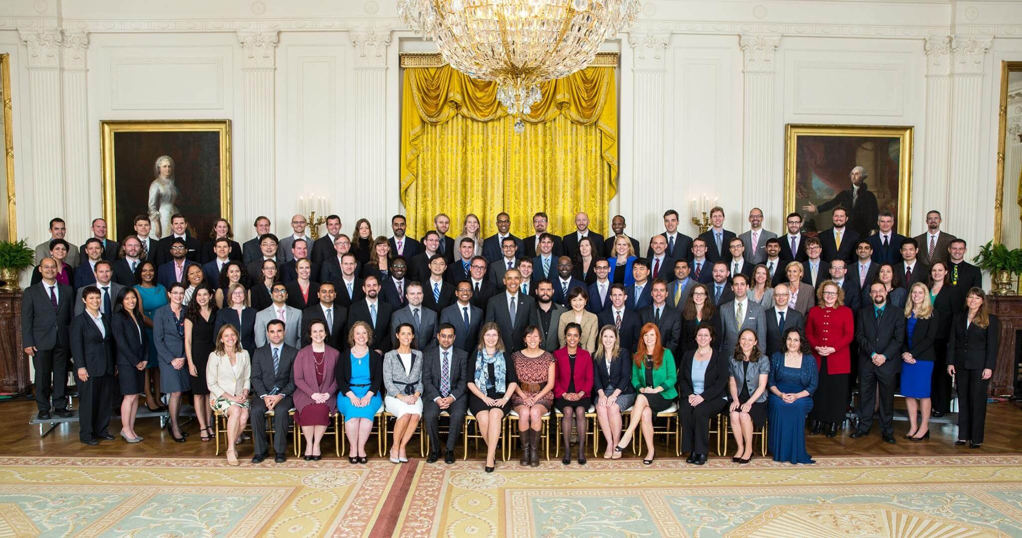 Rahul Mangharam group photo with President Barack Obama and other Presidential Early Career Award recipients