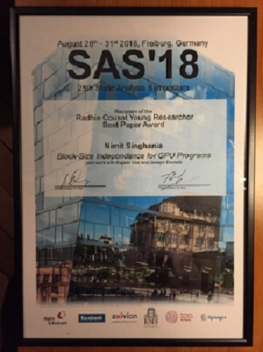 Nimit Singhania won best paper award at SAS 2018