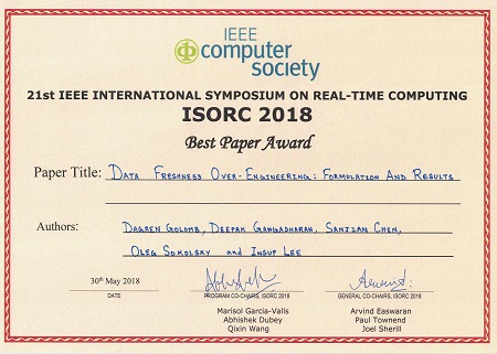ISROC 2018 Best Paper Award